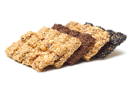 Closeup of multigrain bars  Healthy food and snack concept Stock Photo