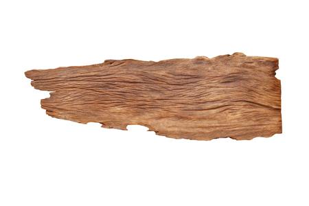 Hölzerne Planke des großen Teakholzes mit den Löchern lokalisiert auf weißem Hintergrund Standard-Bild