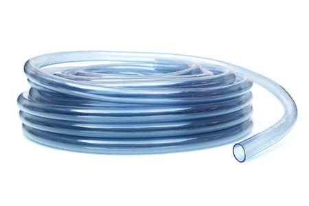 Transparent plastic water hose isolated