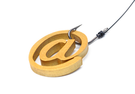 A fish hook with email sign / Online fraud / Email phishing attack concept Stock Photo