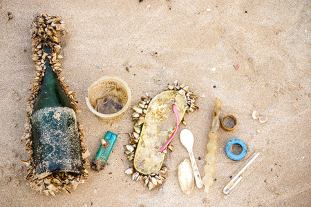Garbage in the sea affecting marine lives  Environmental problem concept Stock Photo
