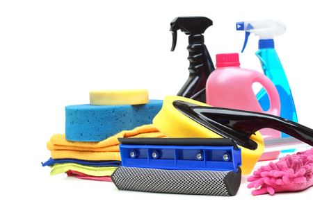 Tools for car wash and clean consisting of sponge, duster, brush, chemical, microfiber brush isolated on white Stock Photo