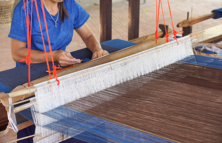 Weaving cotton cloth in Thailand
