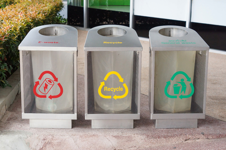 Recycle bins for different types of waste