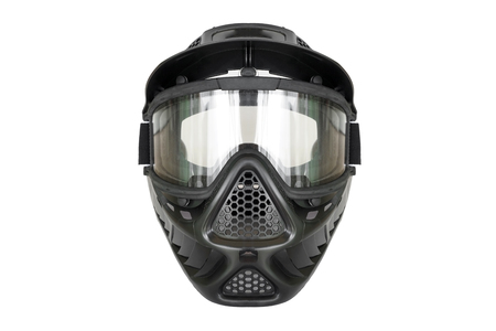 Safety goggle for playing airsoft guns and paintball isolated on white
