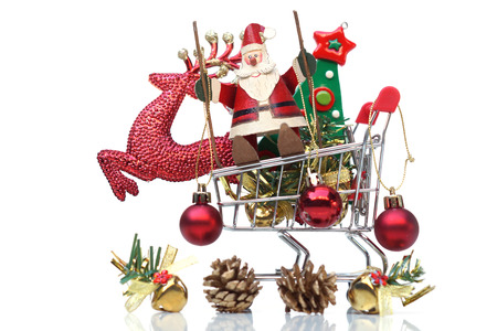 Merry Christmas with Santa Claus and a reindeer on a trolley / Year end sale concept