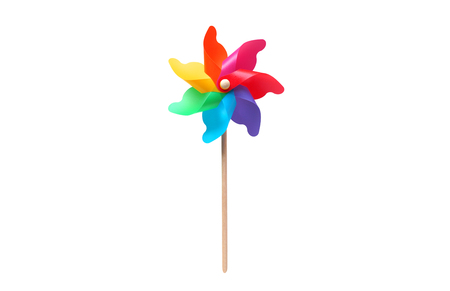 Toy windmill propeller set with multicolored blades isolated on white 免版税图像 - 112150089