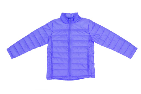 A winter coat in blue color isolated on white