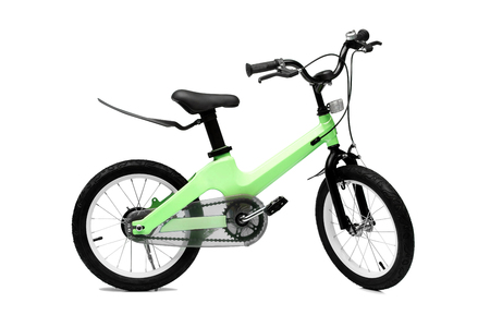 A bicycle for kid in green color isolated background
