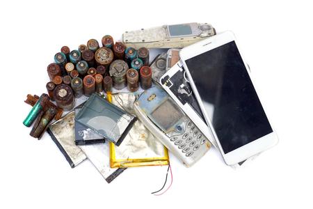 Altes Handy- und Batterie- / Elektronikschrottkonzept Standard-Bild