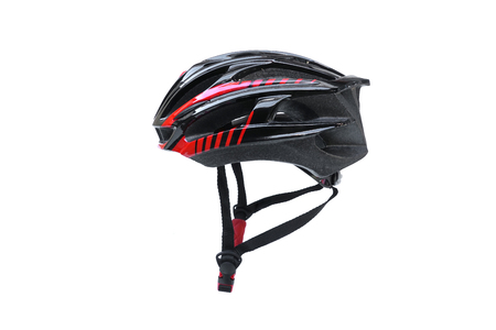 Bicycle helmet in black and red color isolated on white Stok Fotoğraf - 120028055
