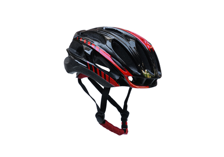 Bicycle helmet in black and red color isolated on white