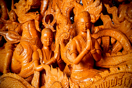 Candle festival in Thailand - a wax candle carved as part of a story of The Buddha Stok Fotoğraf - 120028250
