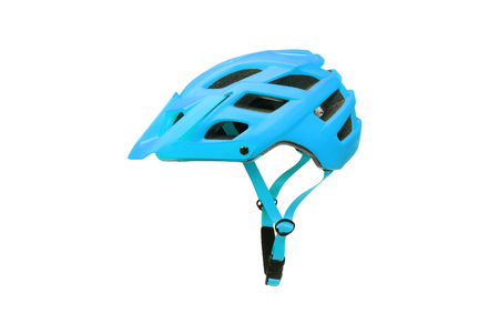 Mountain bike helmet in blue color isolated on white