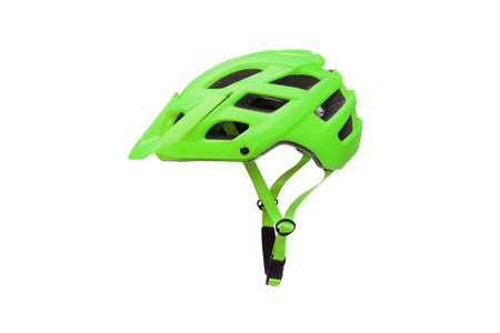 Mountain bike helmet in green color isolated on white Stok Fotoğraf - 120028264