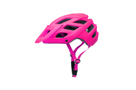 Mountain bike helmet in pink color isolated on white Standard-Bild - 120028265