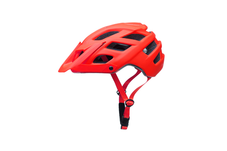 Mountain bike helmet in red color isolated on white Stok Fotoğraf - 120028266