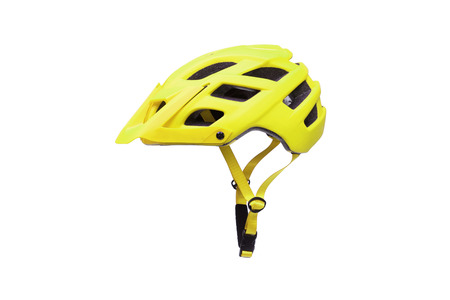 Mountain bike helmet in yellow color isolated on white