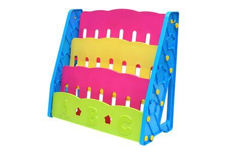 Colorful plastic bookshelf for kids isolated on white background Standard-Bild - 127284783