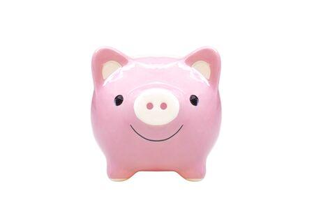 Pink piggy bank closeup isolated Standard-Bild - 127284788