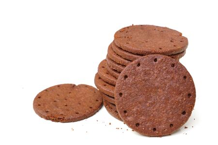 Chocolate cookies isolated on white background Standard-Bild - 126832429