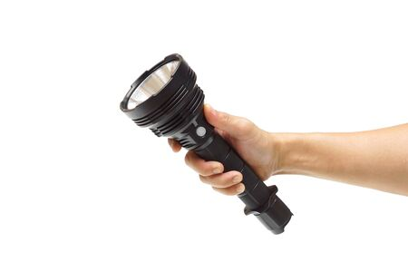 Hand holding a big LED torch isolated / Flashlight for camping Standard-Bild - 128335356