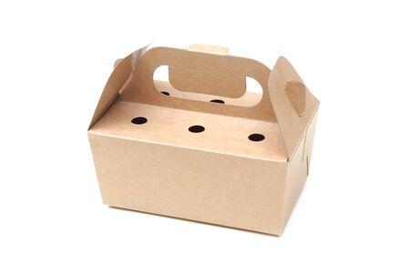 Paper food storage box isolated on white background Standard-Bild - 126832471