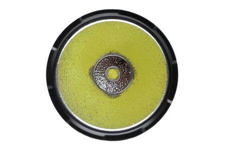Closeup of led flashlight bulb with orange peel reflector Standard-Bild - 126832481