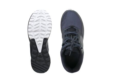 A pair of trail running shoes isolated on white background Standard-Bild - 128335507