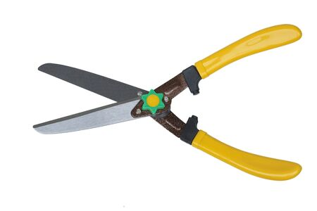 A pair of grass shears isolated on white background