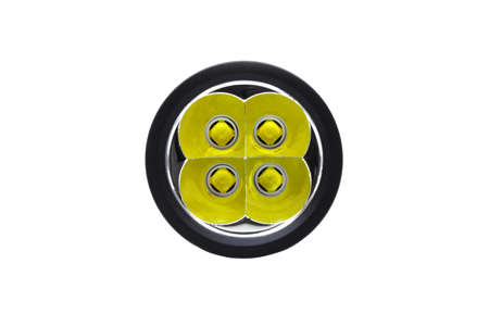 A flashlight with four led emitters isolated on white background
