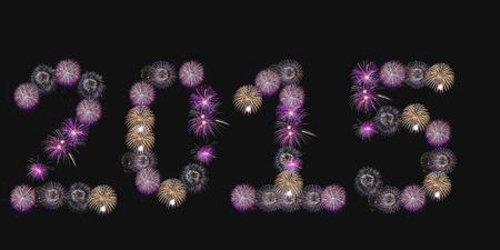 hanabi: Happy New Year 2015 made of real firework Stock Photo