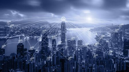 Network business connection system on Hong Kong smart city scape in background. Network business connection concept