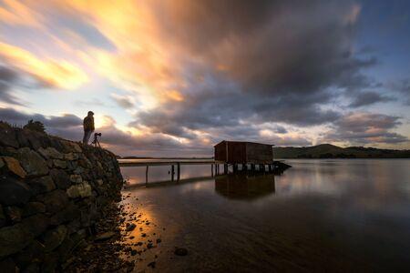Wood jetty pier near Queenstown