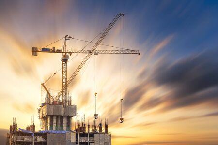Construction site at sunset Фото со стока