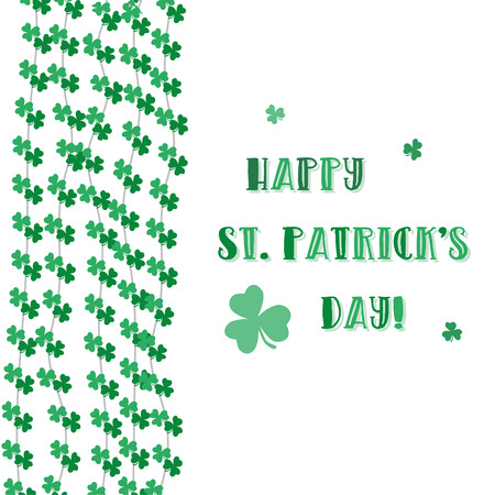 Happy Saint Patrick's Day Vector Background. Vector illustration for luck spring design with shamrock. Green clover border, vertical frame isolated on white background. Ireland symbol pattern. Irish header for web.