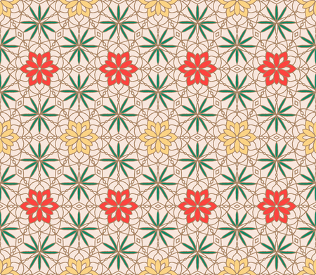 Repeating geometric tiles with mandala vector pattern design for fabric, invitation, card, wallpaper, background. Islamic, Arabic motif. Boho festival style.