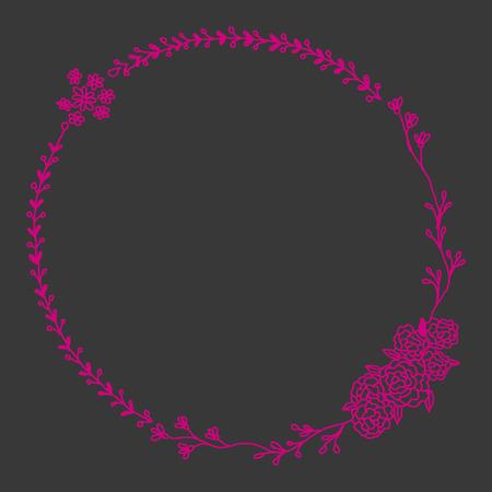 Line drawn magenta botanical bouquet wreath on dark background. Colorful creative flower frame tempalte for greeting card, modern hand lettering. Illustration