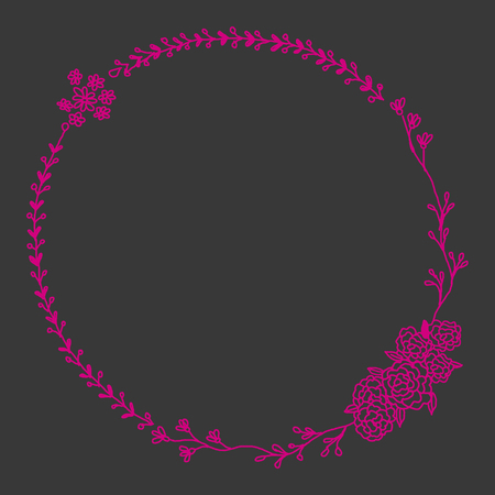 Line drawn magenta botanical bouquet wreath on dark background. Colorful creative flower frame tempalte for greeting card, modern hand lettering. Stock Photo