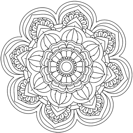 Circle ornament pattern for coloring book with abstract figures. Ethnic, floral, retro, doodle, vector, tribal design element. Oriental design Vintage decorative ornament.