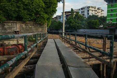 walk path: unusual bridge for temporary time Stock Photo