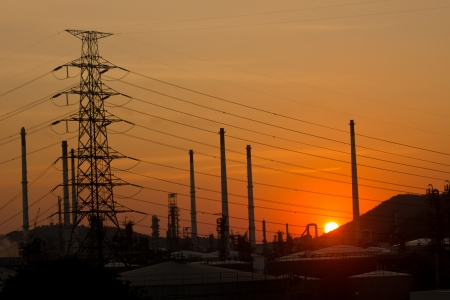 Industry plant and sunset Banco de Imagens - 23498609