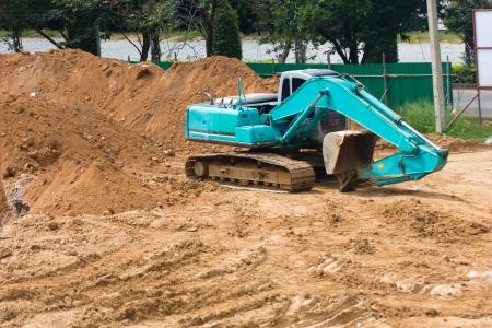 Big excavator on new construction site Banco de Imagens