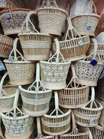 weave: Beautiful handmade wicker basket for your input. Stock Photo