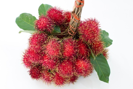 Rambutan Thai fruit on a white background photo