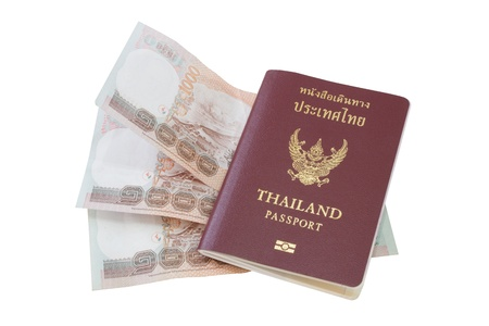 Passport with money on a white background