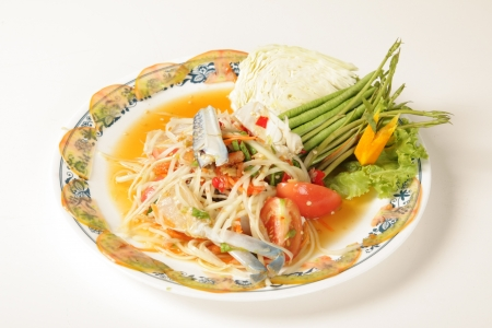 English to Crab Salad Thai food on a white background