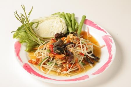 English to Crab Salad Thai food on a white background Stock Photo - 15444860