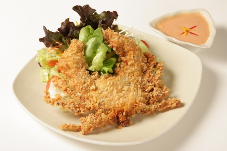 Crab fried seafood on a white background