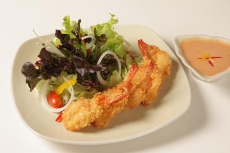 Thai Shrimp fritters on a white background